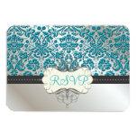 PixDezines rsvp/Baroque faux foil lace/teal 3.5x5 Paper Invitation Card