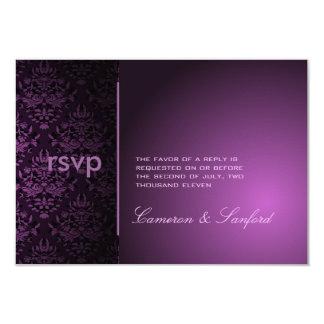 PixDezines RSVP Bijoux Damask/plum 3.5x5 Paper Invitation Card