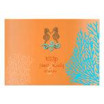 PixDezines rsvp Blue Coral+Seahorse, beach party Invitation