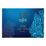 PixDezines rsvp Blue Coral+Seahorse, beach party Custom Invites