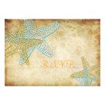 PixDezines rsvp blue starfish/vintage background. Invitation
