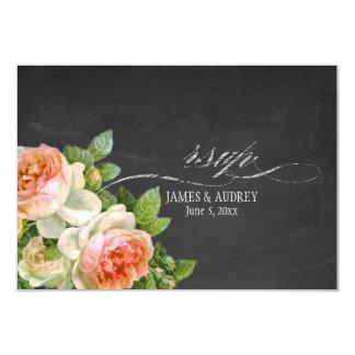 PixDezines rsvp chalkboard+vintage roses+swirls Card