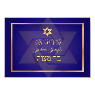 PixDezines rsvp classic bar mitzvah/blue/gold Card