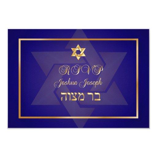 PixDezines rsvp classic bar mitzvah/blue/gold 3.5x5 Paper Invitation Card
