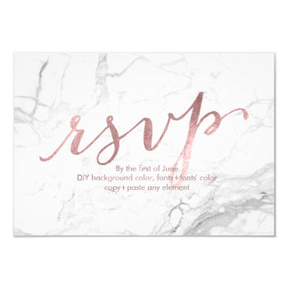 PixDezines RSVP Dazzled/Faux Rose Gold/Marble Card