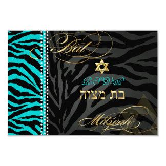PixDezines rsvp DIY color Teal Zebra, Bat Mitzvah 3.5x5 Paper Invitation Card