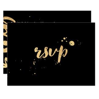 PixDezines rsvp faux gold brush script/DIY color Card