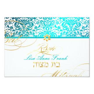 PixDezines rsvp Fidora Damask, Bat Mitzvah Card