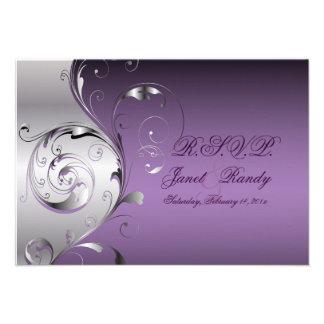 PixDezines rsvp Filigree+swirls silver+lavender Personalized Invite