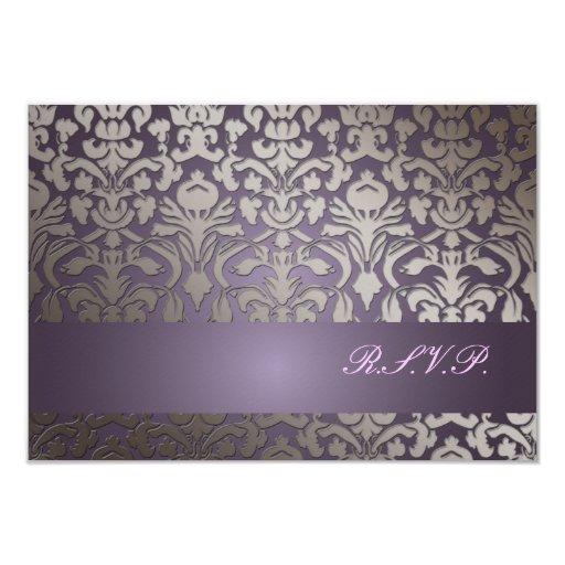 PixDezines rsvp Flora Damask/ plum 3.5x5 Paper Invitation Card