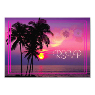 PixDezines rsvp Hawaiian Sunset Beach Scence Invite