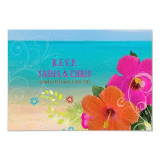 PixDezines rsvp hibiscus+fern Custom Invitation