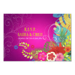 PixDezines rsvp hibiscus+monstera/yellow+fuschia 3.5x5 Paper Invitation Card