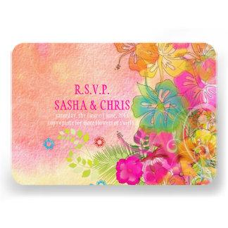 PixDezines rsvp hibiscus water color affect Personalized Invitations