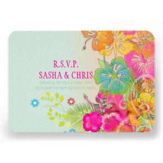 PixDezines rsvp hibiscus water color affect Custom Invitations