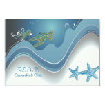 "PixDezines rsvp honu+waves 3.5"" X 5"" Invitation Card"