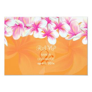 PixDezines rsvp Hot Pink plumaria/DIY color 3.5x5 Paper Invitation Card