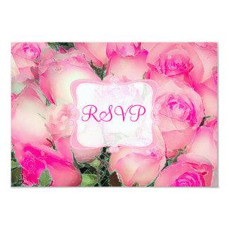 PixDezines rsvp hot pink roses/watercolor affect Card