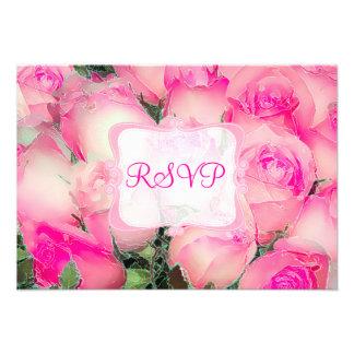 PixDezines rsvp hot pink roses watercolor affect Custom Invites