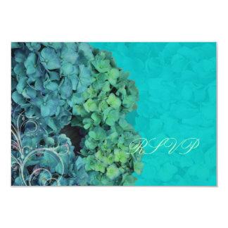 PixDezines RSVP Hydrangea, blue/teal Card