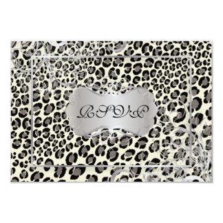 PixDezines rsvp, Leopard spots/black/offwhite/grey 3.5x5 Paper Invitation Card