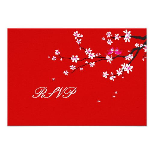 PixDezines rsvp Love Birds+Red Cherry/diy color Custom Invitations