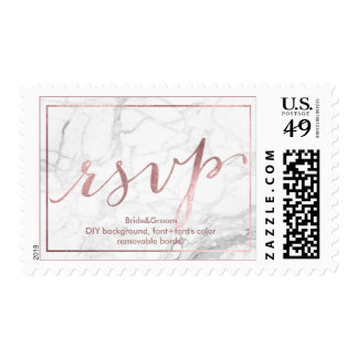 PixDezines RSVP Marble/Faux Rose Gold Foil Postage