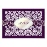 PixDezines rsvp moiré damask+Chandelier/DIY color 3.5x5 Paper Invitation Card