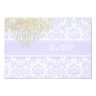PixDezines rsvp moiré damask+Chandelier/purple 3.5x5 Paper Invitation Card