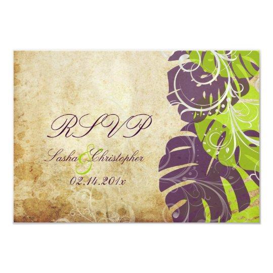 PixDezines rsvp Monstera, Tropical Foliage+Swirls Card