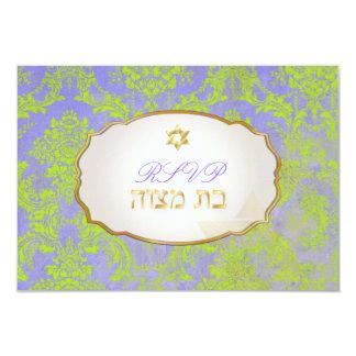 PixDezines rsvp natasha damask/Bat Mitzvah Card