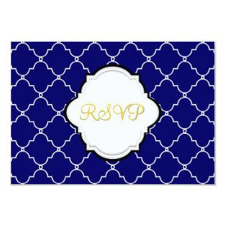 PixDezines rsvp nautical trellis/blue+orange Card