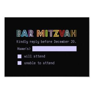 "PixDezines rsvp neon lights bar mitzvah 3.5"" X 5"" Invitation Card"