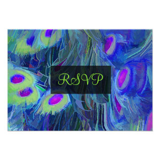 PixDezines rsvp painted peacock watercolor affect Invitation