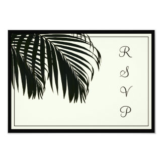PixDezines rsvp Palm fronds/beach/black+beige Card