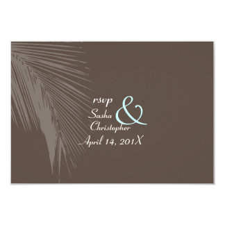PixDezines rsvp Palm fronds silhouette/cocoa+blue Card