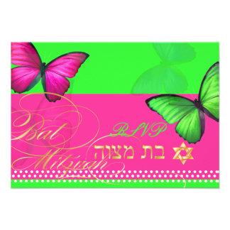PixDezines rsvp Papillon Bat Mitzvah Personalized Invitations