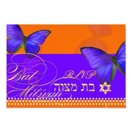 PixDezines rsvp/Papillon/Cobalt, Bat Mitzvah 3.5x5 Paper Invitation Card