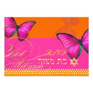 PixDezines rsvp Papillon fuschia Bat Mitzvah Custom Invitations