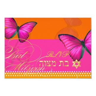 "PixDezines rsvp/Papillon/fuschia, Bat Mitzvah 3.5"" X 5"" Invitation Card"