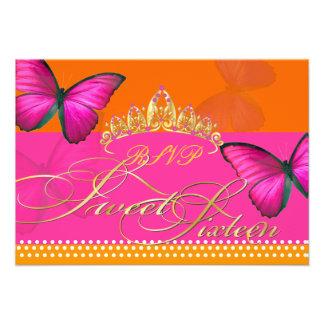 PixDezines rsvp Papillon fuschia sweet 16 Personalized Invitation