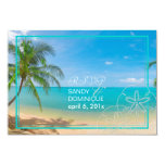 "PixDezines rsvp paradise/Tropical+beach+palm trees 3.5"" X 5"" Invitation Card"