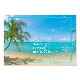 PixDezines rsvp paradise/Tropical+beach+palm trees 3.5x5 Paper Invitation Card