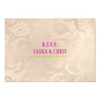 PixDezines rsvp pavo damask/pink champagne Card