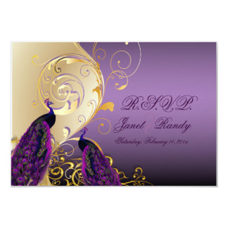 PixDezines rsvp Peacock, Filigree+swirls/DIY text 3.5x5 Paper Invitation Card