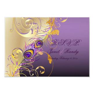 PixDezines rsvp Peacock , Filigree+swirls/DIY text 3.5x5 Paper Invitation Card