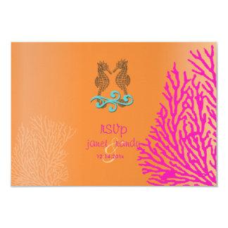 PixDezines rsvp Pink Coral+Seahorse, beach party 3.5x5 Paper Invitation Card