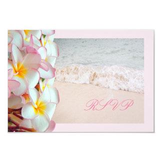 PixDezines rsvp pink plumeria/beach/diy trim Custom Announcement