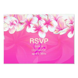 PixDezines rsvp Pink Plumeria/hot pink 3.5x5 Paper Invitation Card