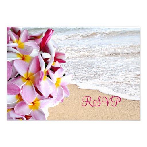 PixDezines rsvp pink plumeria Lei /beach Invites